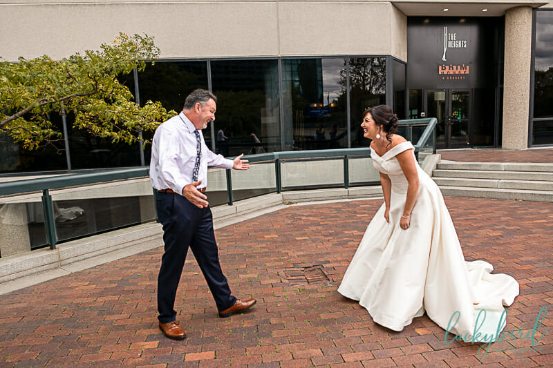first look with bride and dad renaissance hotel