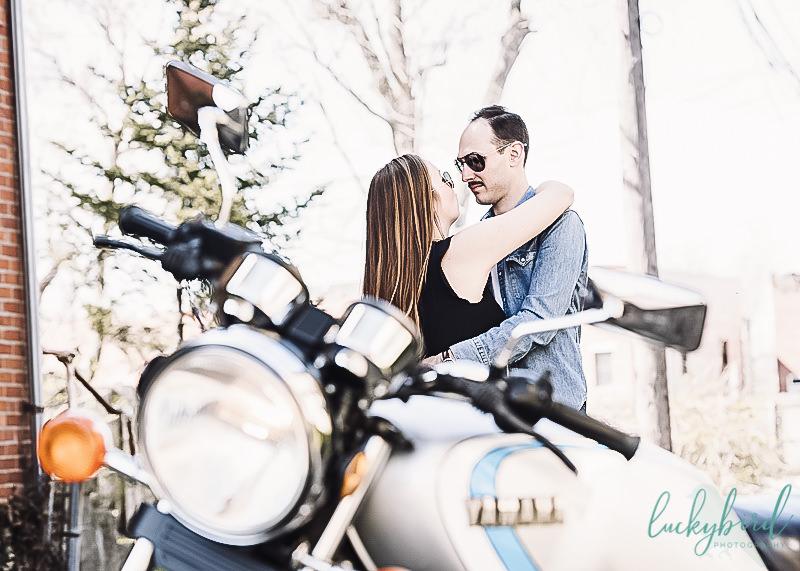 Columbus German Village motorcycle engagement photography