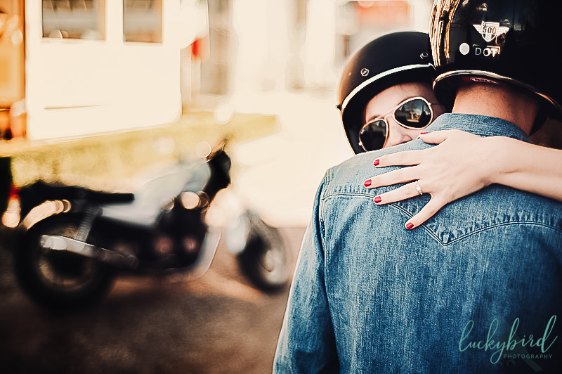 Ohio engagement session with motorcycle