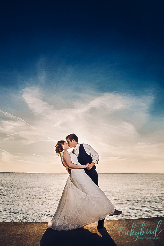 sunset wedding photo at catawba island club