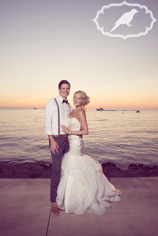 gorgeous couple at sunset at catawba island club