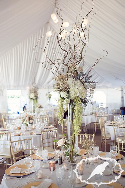 reception inside tent at catawba island club
