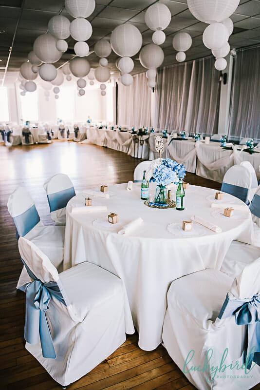 blue and green wedding photos at monclova community center
