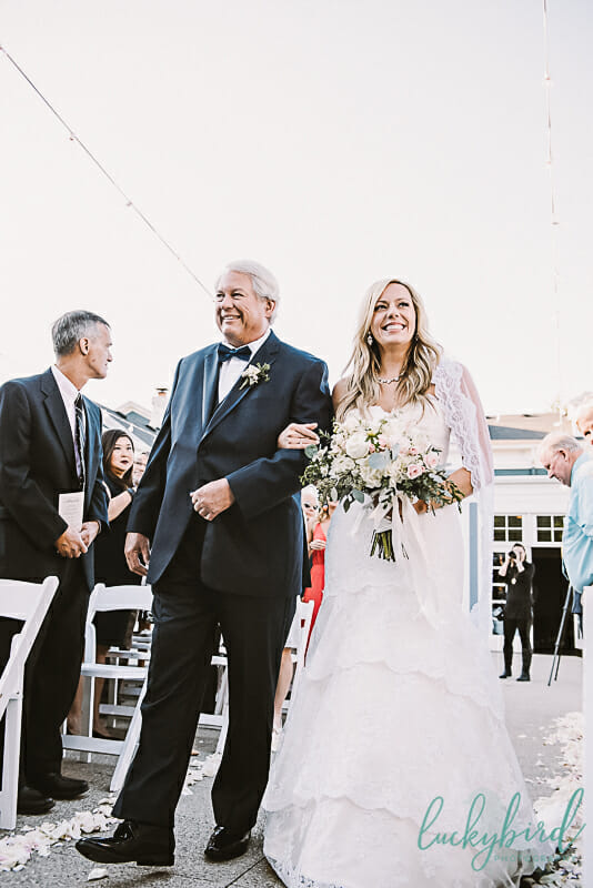 bride and dad at carranor for ceremony
