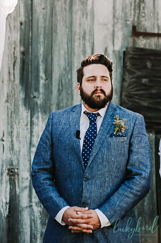 groom seeing bride walk down the aisle at monclova community center
