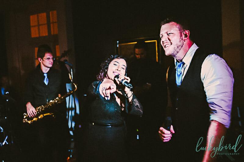 night photos during wedding reception at carranor