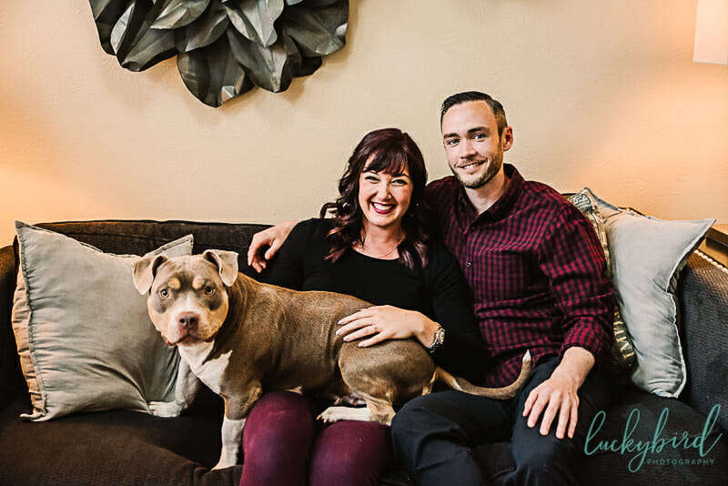 home engagement session with dog