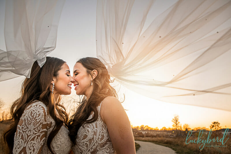 two brides under veils at middlegrounds park lesbian wedding