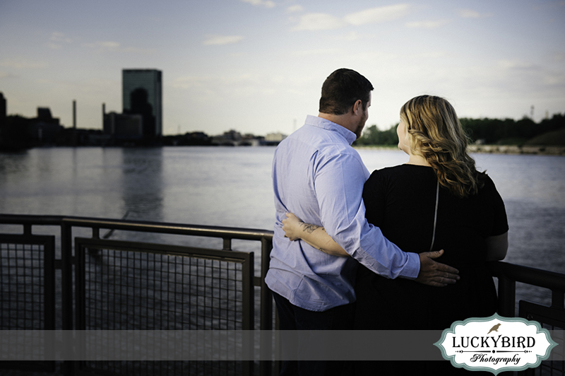 downtown toledo engagement photo at middlegrounds park