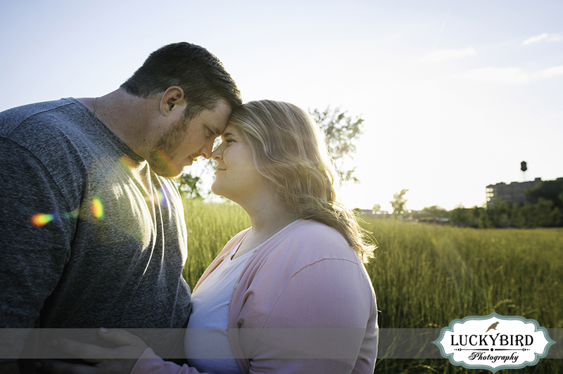 downtown toledo sunset engagement photo at middlegrounds park