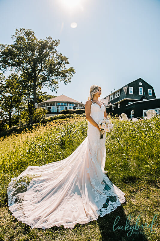 bride in wedding dress at toledo country club