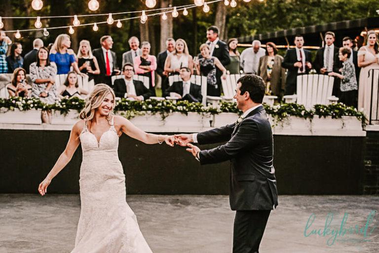 dancing photo on outdoor dance floor at toledo country club