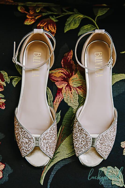 glitter wedding shoes at toledo country club