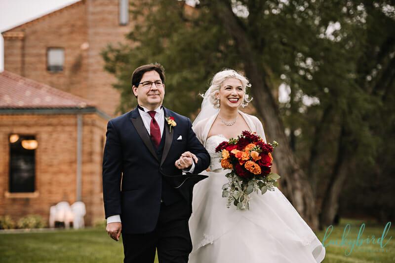 nazareth hall outdoor ceremony bride and dad
