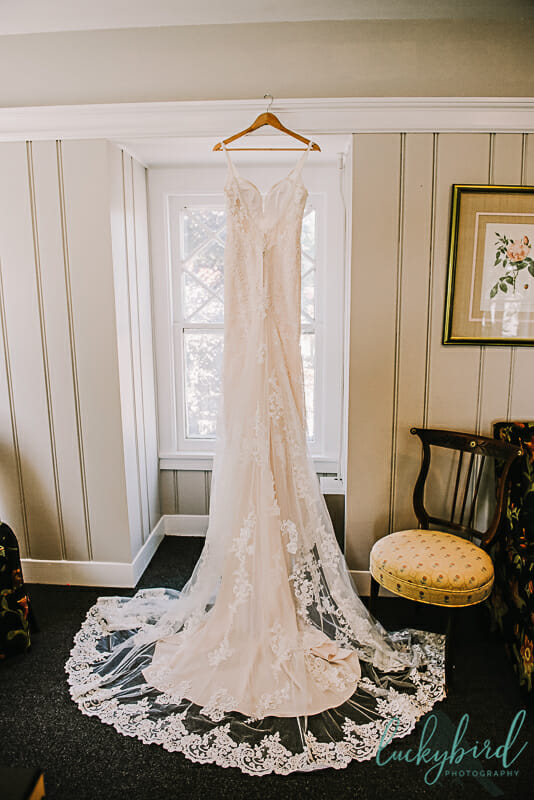 wedding dress back hanging at toledo country club