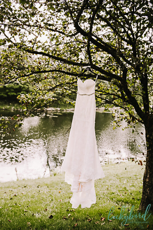 wedding dress hanging at so serene