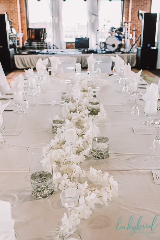 all white wedding decor at the armory hensville