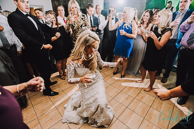 bride on the dance floor for toledo hensville armory wedding