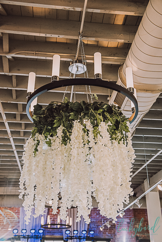 floral chandelier at hensville armory wedding