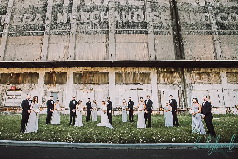 wedding party photo in downtown toledo