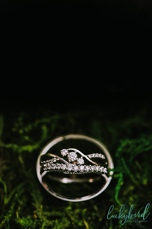wedding ring photo in moss
