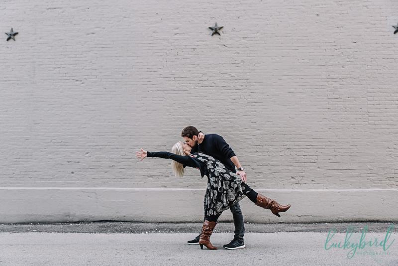 downtown perrysburg engagement photo