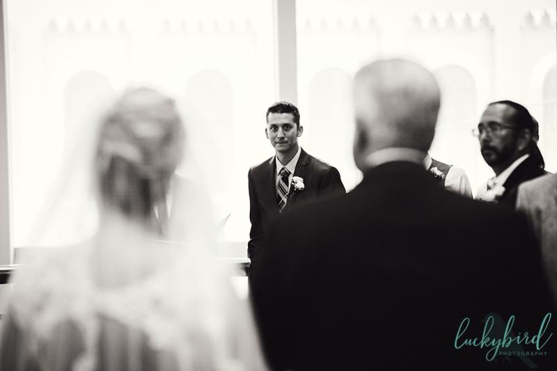 park inn groom seeing bride walk down the aisle