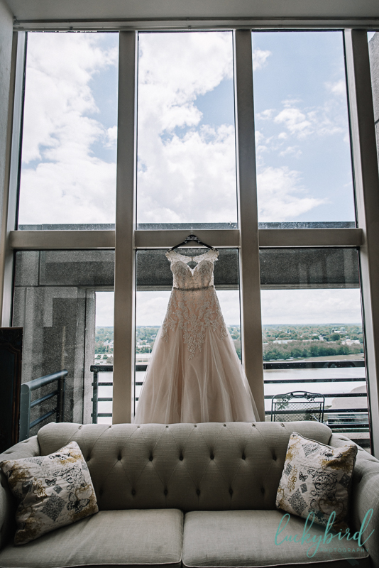 park inn wedding dress hanging