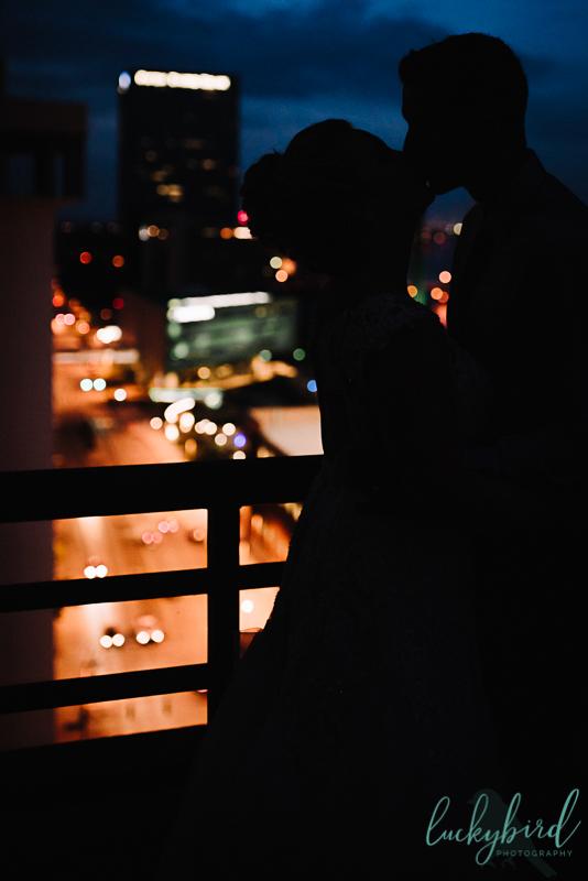 toledo skyline wedding photo at night
