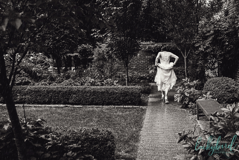 bride running out of the rain