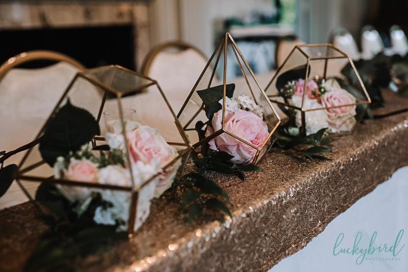 copper geometrical wedding centerpieces