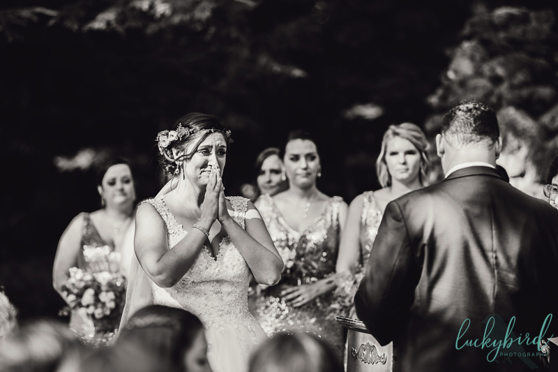 excited bride at grotto in nazareth hall