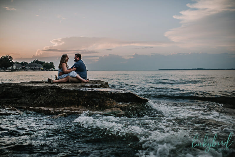 marblehead lighthouse sunset engagement session