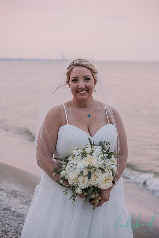 bride at docks beach house
