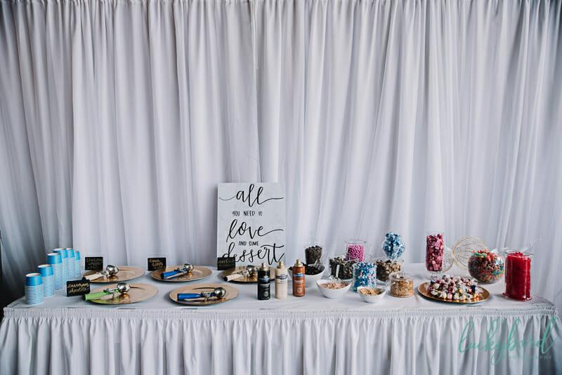 ice cream dessert table for wedding reception