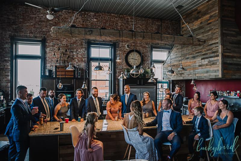 the loft sandusky wedding party photo