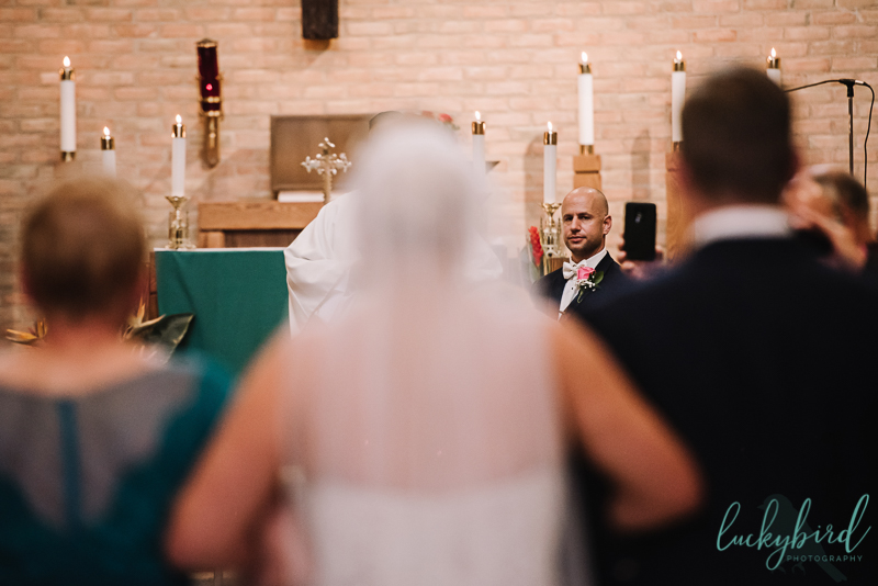 chicago groom seeing bride when she walks down the aisle