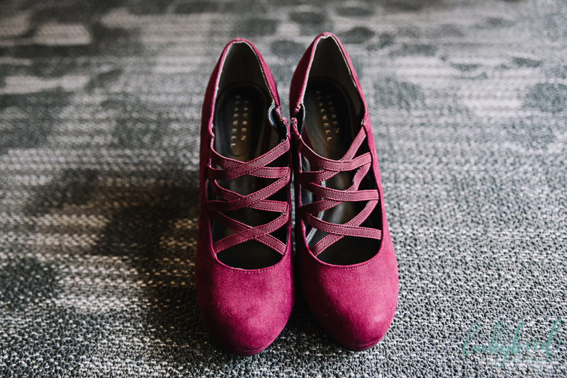 burgundy wedding shoes at the stables