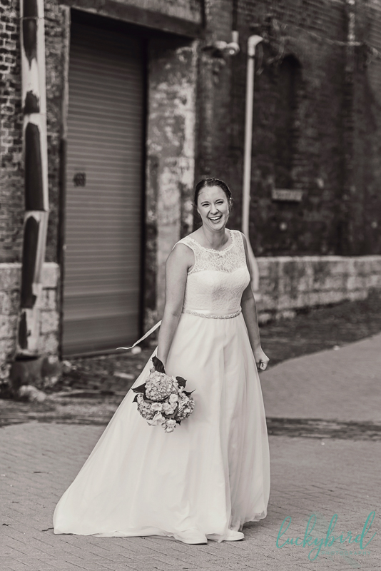 columbus same sex wedding photography with bride in dress