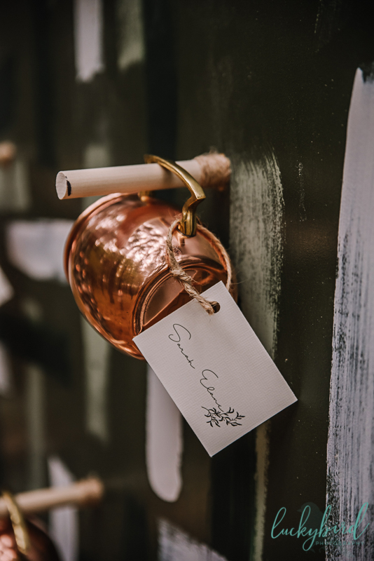 escort wall with moscow mule mug placecards