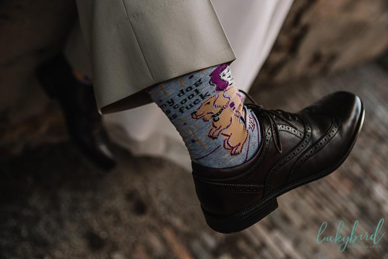 funny dog socks for wedding day