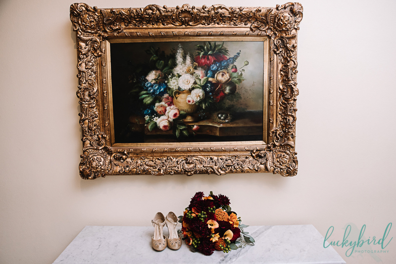 nazareth hall shoe and bouquet photo