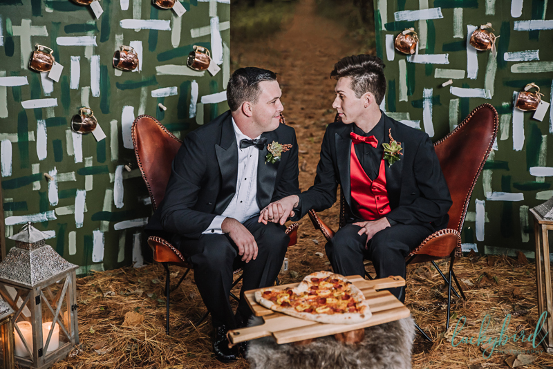 pizza styled shoot with two grooms
