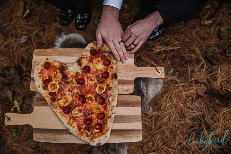 pizza styled wedding shoot