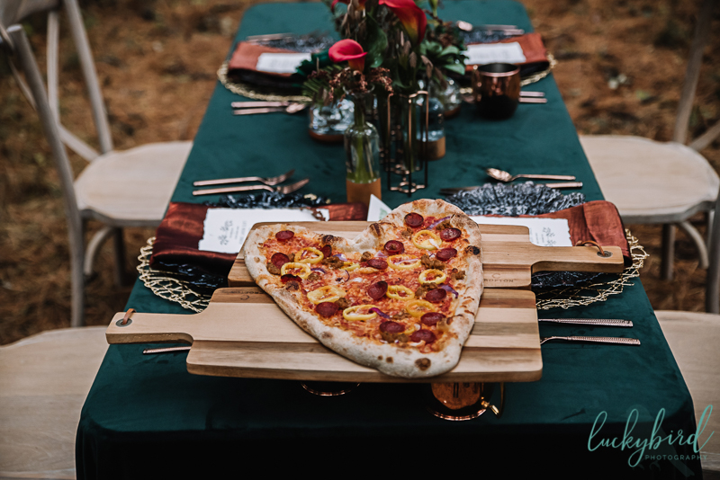 styled shoot with pizza