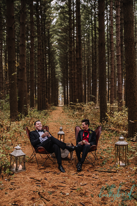 two grooms styled shoot in the woods