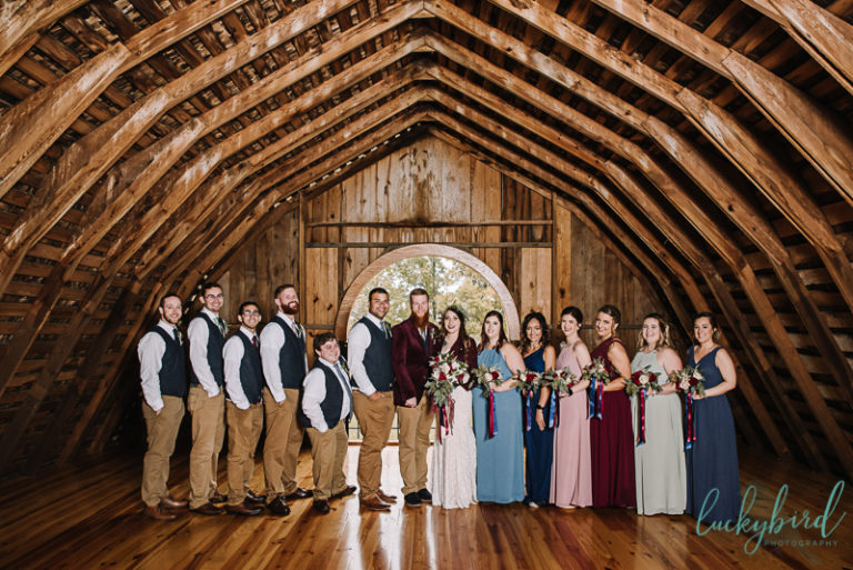 wedding party photos at the stables