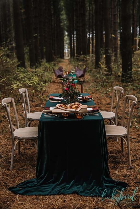 winter styled wedding with pizza