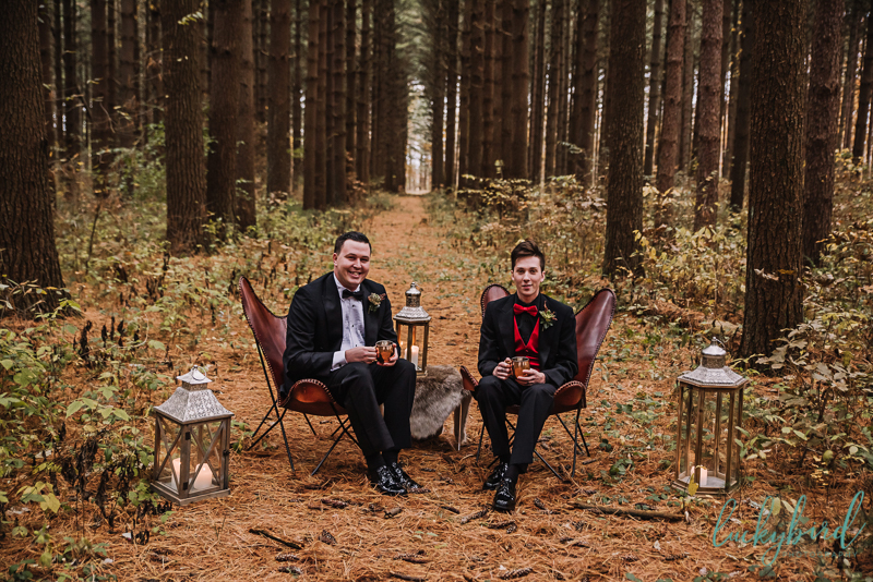 woodland styled shoot with two grooms