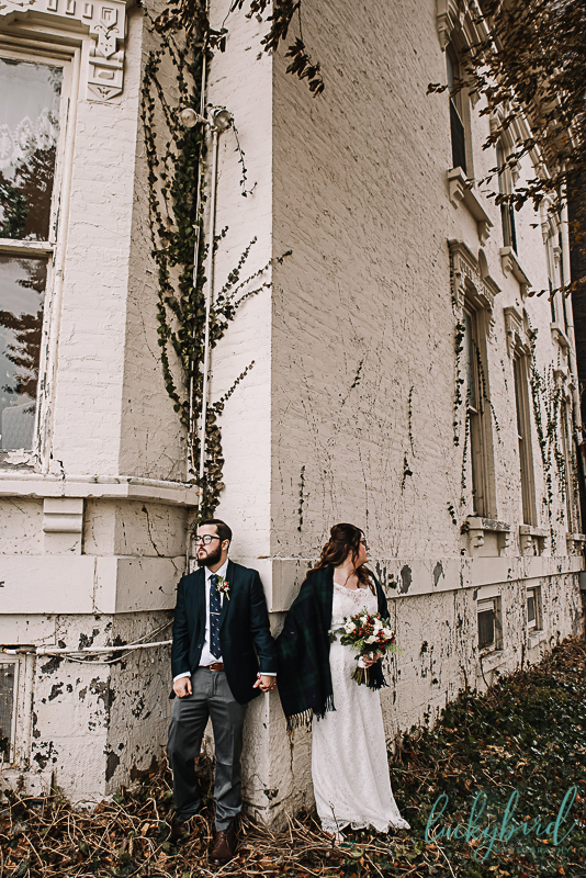 bride and groom at collingwood arts center